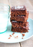 Chewy chocolate and coconut slice Stock Photos