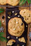 Chewy and crunchy cookies with white chocolate chips, pistachio and dried cherries. Chewy and crunchy cookies with white chocolate chips, pistachio nuts and stock photos