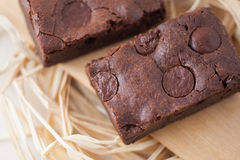 Chewy Fudge Homemade Brownies Stock Photo