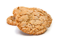 Chewy Ginger Cookie. Stack of chewy ginger cookies over white stock images
