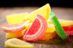 Chewy jelly candy. Citrus fruits flavored chewy jelly candy Stock Images