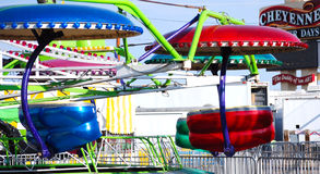 Cheyenne Carnival. Colorful carnival ride on midway in Cheyenne, Wyoming stock image