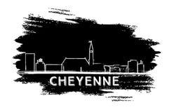Cheyenne Skyline Silhouette Abbozzo disegnato a mano Immagine Stock