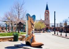 Cheyenne Wyoming i stadens centrum område och känga royaltyfri foto