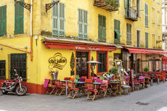Chez Juliette Restaurant in Nice, France. NICE, FRANCE - MAY 21, 2014: Chez Juliette Restaurant invites in the Old Town, it shows the lifestyle and architecture stock image
