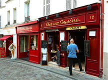 The Chez ma cuisine is French traditional cafe located in Montmartre, Paris, France. PARIS , France- June 01, 2017: View of typical cafe Chez ma cuisine in royalty free stock photography