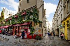 Chez Marianne restaurang i det historiska området av Marais, Paris Arkivbild