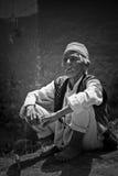 Chhaimale村庄, 29km的一个老人在加德满都南部,尼泊尔 库存照片