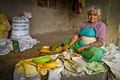 Chhaimale村庄, 29km的一个老妇人在加德满都南部,尼泊尔 图库摄影