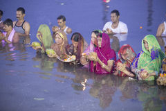 Chhat puja celebration at River. Chhath is an ancient Hindu festival and only Vedic Festival dedicated to the Hindu Sun God, Surya and Chhathi Maiya. The Chhath royalty free stock image