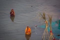 Chhath Puja Γάγκης Ινδία στοκ εικόνες
