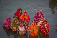 Chhath Puja Ganges India royaltyfria foton