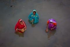 Chhath Puja Ganges India Fotografering för Bildbyråer