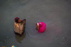 Chhath Puja Ganges India Royaltyfri Bild