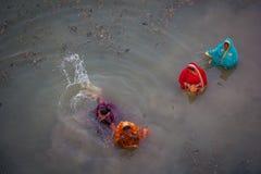 Chhath Puja Ganges India Royaltyfria Bilder