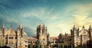 Chhatrapati Shivaji Terminus stacja kolejowa fotografia royalty free