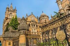 Chhatrapati Shivaji Terminus stacja kolejowa lub Wiktoria Terminus w Mumbai obraz stock