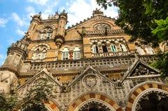 Chhatrapati Shivaji Terminus stacja kolejowa lub Wiktoria Terminus w Mumbai zdjęcie stock