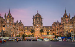 Chhatrapati Shivaji Terminus at sunset Royalty Free Stock Images