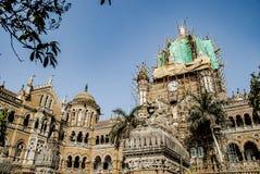Chhatrapati Shivaji Terminus vroeger Victoria Terminus een historisch station en een Unesco-Plaats van de Werelderfenis in Mumbai stock afbeelding