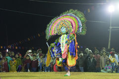 Chhau Dance, Indian tribal martial dance at night in village Stock Photo