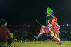 Chhau Dance, Indian tribal martial dance at night in village Stock Images