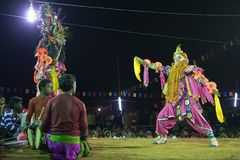 Chhau Dance, Indian tribal martial dance at night in village Stock Image