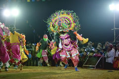 Chhau Dance, Indian tribal martial dance at night in village Royalty Free Stock Image