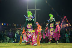 Chhau Dance, Indian tribal martial dance at night in village Stock Photography