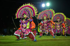Chhau Dance, Indian tribal martial dance at night in village Stock Photos