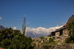 Chhekampar Village of Tsum Valley and The Mountains royalty free stock photos