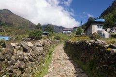 Chheplung,珠穆琅玛营地艰苦跋涉的一个村庄,尼泊尔 免版税图库摄影