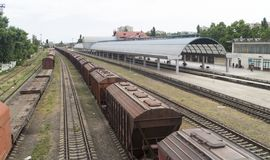 Railway station in Chisinau. Chişinău railway station Romanian: Gara feroviară din Chișinău is the main railway station serving Chişinău royalty free stock images