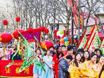 Chińska nowy rok świętowań parada przy Paryż zdjęcia royalty free