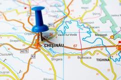 Chișinău on map. With push pin. Kishinev stock photo