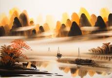 Chińczyk akwareli krajobrazowy obraz ilustracji
