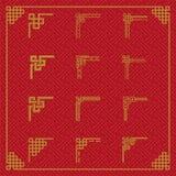 Chińczyk granicy ornament w różnorodnym stylu ilustracji