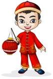 Chińczyk jest ubranym kapelusz ilustracji