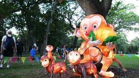 Chińczyk Małpuje lampiony w Auckland Latarniowym festiwalu zbiory wideo