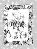 Chińczyk 2019 nowy rok symbolu kreskówki chibi świniowaty charakter w steampunk ramy plakacie ilustracja wektor