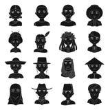 Chińczyk, rosjanin, amerykanin, arab, hindus, turczynka i inny, ścigamy się Ras ludzkich ustalone inkasowe ikony w czerni projekt Obraz Stock