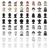 Chińczyk, rosjanin, amerykanin, arab, hindus, turczynka i inny, ścigamy się Ras ludzkich ustalone inkasowe ikony w kreskówce proj Zdjęcia Stock