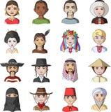 Chińczyk, rosjanin, amerykanin, arab, hindus, turczynka i inny, ścigamy się Ras ludzkich ustalone inkasowe ikony w kreskówce proj Zdjęcia Royalty Free