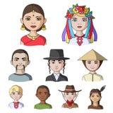 Chińczyk, rosjanin, amerykanin, arab, hindus, turczynka i inny, ścigamy się Ras ludzkich ustalone inkasowe ikony w kreskówce proj Fotografia Royalty Free
