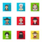 Chińczyk, rosjanin, amerykanin, arab, hindus, turczynka i inny, ścigamy się Ras ludzkich ustalone inkasowe ikony w mieszkaniu pro Obraz Stock