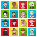 Chińczyk, rosjanin, amerykanin, arab, hindus, turczynka i inny, ścigamy się Ras ludzkich ustalone inkasowe ikony w mieszkaniu pro Obrazy Stock