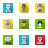 Chińczyk, rosjanin, amerykanin, arab, hindus, turczynka i inny, ścigamy się Ras ludzkich ustalone inkasowe ikony w mieszkaniu pro Zdjęcie Stock