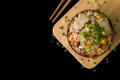 Chińczyk Smażący Ryżowy tło, Rice, chińczyk/chińczycy Smażący/Smażyliśmy Rice na Czarnym tle Obrazy Royalty Free