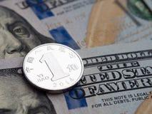 Chińczyk Yi Yao dolar amerykański wymiana na dolara tle zdjęcia stock
