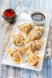 Chińczyka dumplingsparowy gioza w różnorodny tworzyć Fotografia Royalty Free